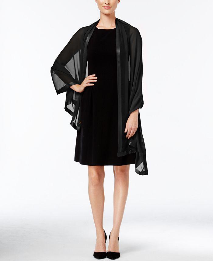 Calvin Klein - Satin Trim Chiffon Evening Wrap