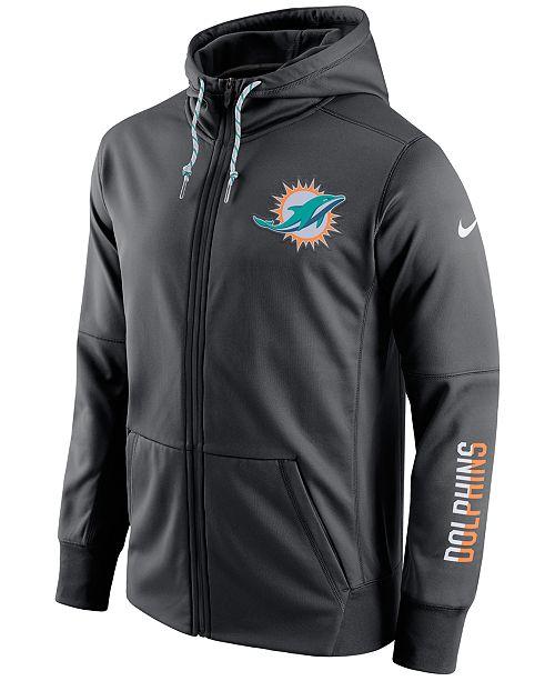 Nike Men's Miami Dolphins Circuit Full Zip Hoodie Sports Fan Shop