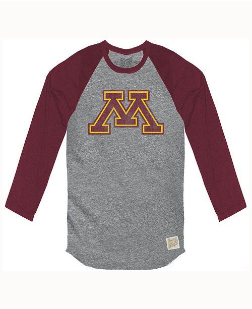 Retro Brand Men's Minnesota Golden Gophers Color Block Long Sleeve T-Shirt