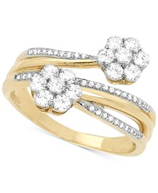 Diamond Cluster Bypass Ring (3/4 ct. t.w.) in 14k Gold, Created for Macy's