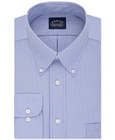 Men's Big & Tall Classic-Fit Stretch Collar Non-Iron Blue Stripe Dress Shirt