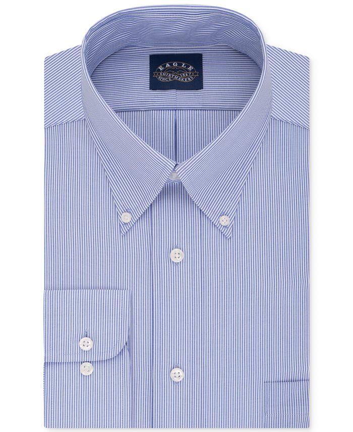 Eagle - Men's Big & Tall Classic-Fit Non-Iron Blue Stripe Dress Shirt