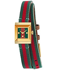 Gucci Women's Swiss G Frame Green-Red-Green Web Double Wrap Nylon Strap Watch 14x18mm YA128527