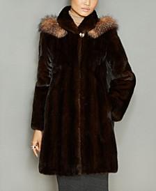 Fox-Fur-Trim Hooded Mink Fur Coat
