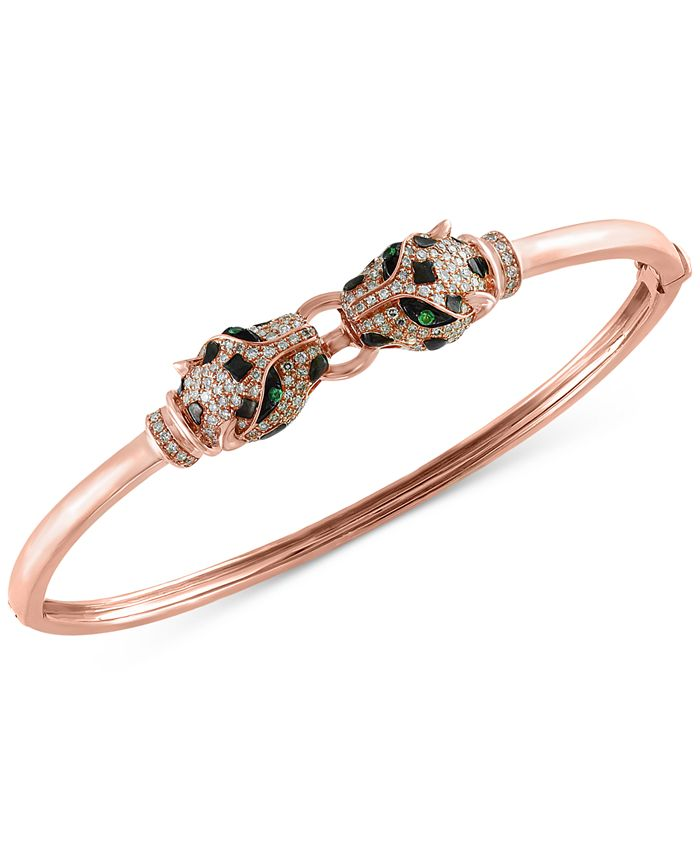 EFFY Collection - Diamond (3/4 ct. t.w.) and Tsavorite Accent Bangle Bracelet in 14k Rose Gold
