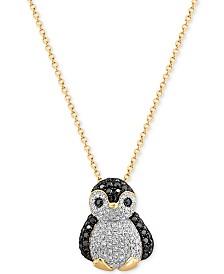 EFFY® Diamond Penguin Pendant Necklace (5/8 ct. t.w.) in 14k Gold