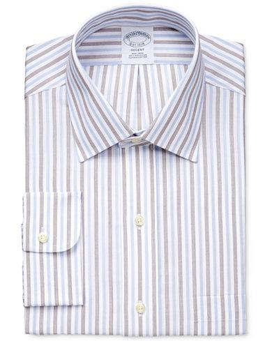 Brooks Brothers Men's Regent Classic Fit Non-Iron Brown Stripe Dress Shirt