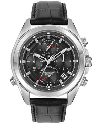 Bulova Men's Chronograph Precisionist Black Leather Strap Watch 45mm 96B259