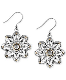 Two-Tone Openwork Floral Drop Earrings