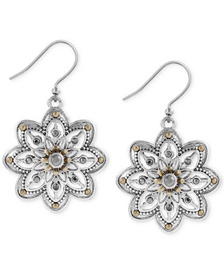 Lucky brand two tone openwork floral drop earrings for Macy s lucky brand jewelry