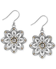 Lucky Brand Two-Tone Openwork Floral Drop Earrings
