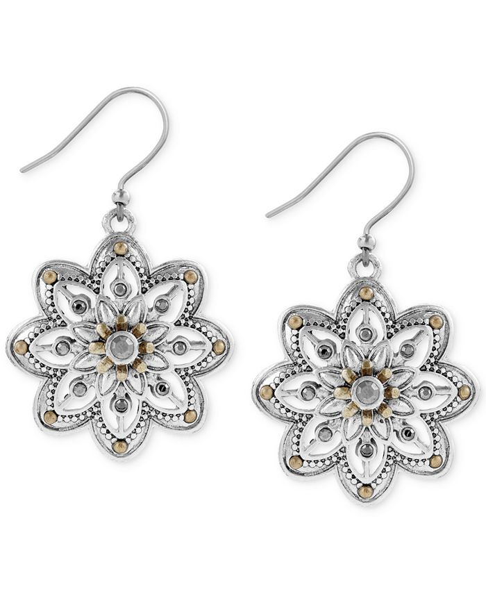 Lucky Brand - Two-Tone Openwork Floral Drop Earrings