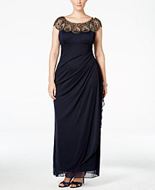 Xscape Plus Size Illusion Beaded Gown