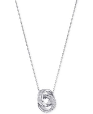 SWAROVSKI Double Ring Pave Pendant Necklace in Silver