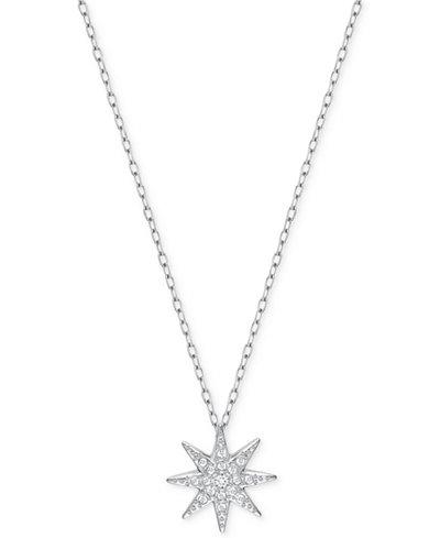 Swarovski Silver-Tone Pavé Star Pendant Necklace