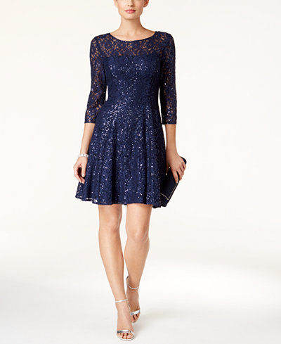 SL Fashions Sequined Lace Fit & Flare Dress - Dresses - Women - Macy's
