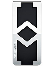 Signature Men's Stainless Steel and Black Logo Money Clip 114767