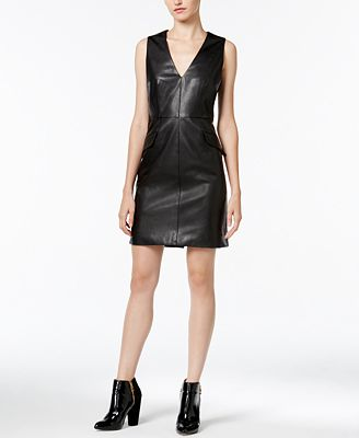 Bar III Faux-Leather Dress, Created for Macy's