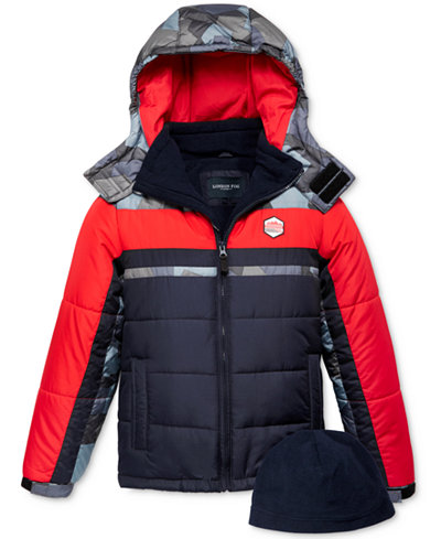 London Fog 2-Pc. Hat & Hooded Colorblocked Puffer Jacket Set, Little Boys (2-7)