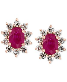 Amoré by EFFY® Certified Ruby (1-9/10 ct. t.w.) and Diamond (3/4 ct. t.w.) Earrings in 14k Rose Gold, Created for Macy's