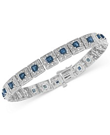 Sapphire (5 ct. t.w.) and Diamond (1/5 ct. t.w.) Tennis Bracelet in Sterling Silver