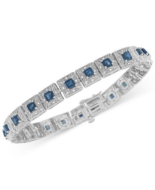 Macy's Sapphire (5 ct. t.w.) and Diamond (1/5 ct. t.w.) Tennis Bracelet in Sterling Silver