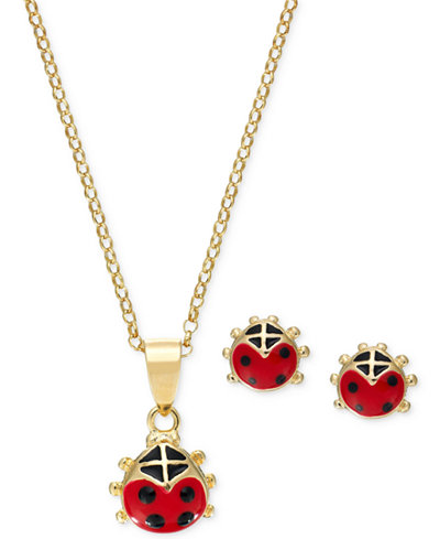 Children's Red Enamel Ladybug Pendant Necklace and Stud Earrings Set in 18k Gold-Plated Sterling Silver