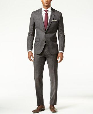hugo charcoal flannel glen plaid slim fit suit suits suit separates macy s