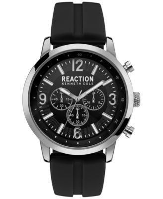 Image of Kenneth Cole Reaction Men's Black Silicone Strap Watch 44mm 10030929