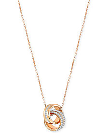 Swarovski Double Ring Pavé Pendant Necklace
