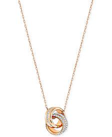 Swarovski Double Ring Pavé Pendant Necklace