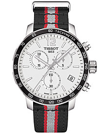 Tissot Unisex Swiss Chronograph Toronto Raptors Quickster Black, Silver & Red Strap Watch 42mm T0954171703716