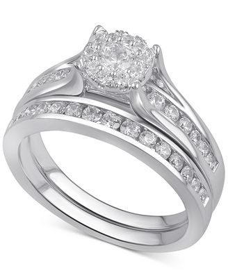 Macy S Diamond Bridal Channel Set 1 Ct T W In 14k White Yellow