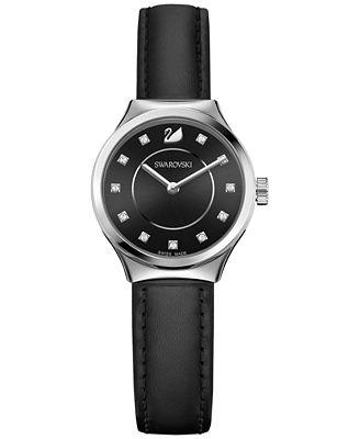 Swarovski Women's Swiss Dreamy Black Leather Strap Watch 28mm 5199931