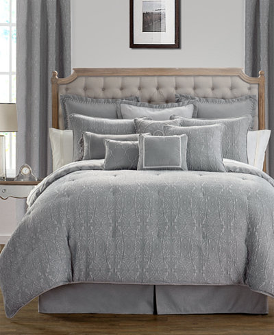 waterford carlisle platinum reversible king comforter set bedding collections bed bath. Black Bedroom Furniture Sets. Home Design Ideas