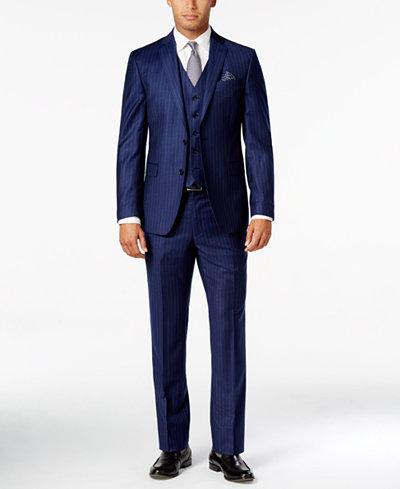 Tallia Men's Slim-Fit Blue Pinstripe Vested Suit