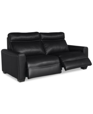 marzia leather sofa with 2 power recliners created for macyu0027s - Reclining Leather Sofa