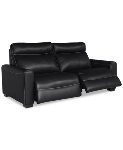 Marzia Leather Sofa With Power Recliners Created For Macys - Leather sofa reclining