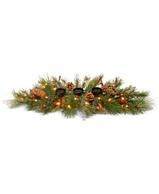 "30"" Decorative Collection White Pine Candle Holder Centerpiece with LED Lights"