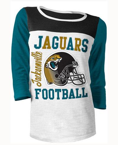 5th & Ocean Women's Jacksonville Jaguars Three-Quarter Glitter T-Shirt