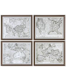 World Maps 4-Pc. Framed Print Wall Art