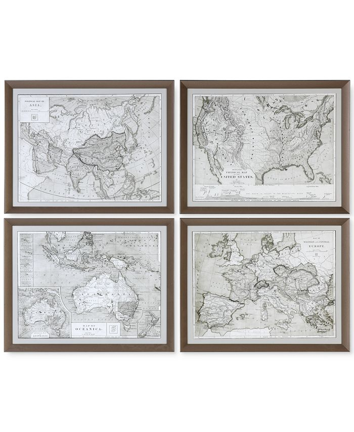 Uttermost - World Maps 4-Pc. Framed Print Wall Art