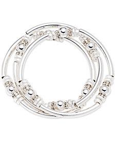 Nine West Silver-Tone 3-Pc. Set Metal Bangle Decorated Stretch Bracelets