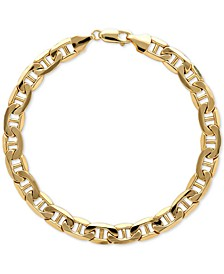 Men's Beveled Marine Link Bracelet in 10k Gold
