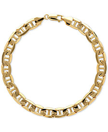 Italian Gold Men's Beveled Marine Link Bracelet in 10k Gold