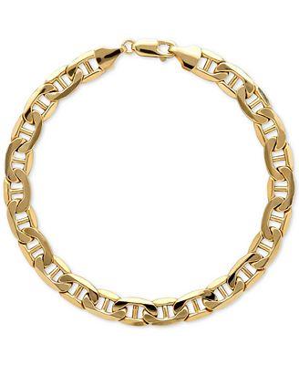 Italian Gold Men S Beveled Marine Link Bracelet In 10k Gold