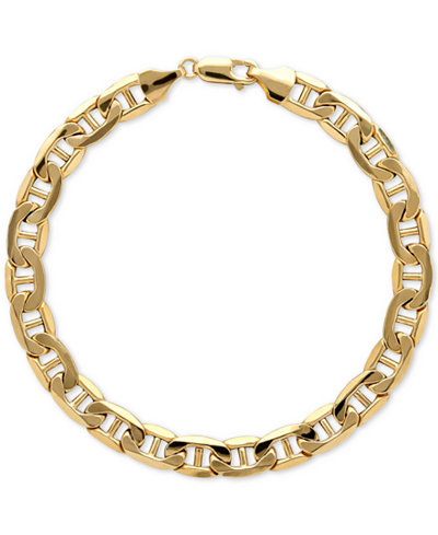 Italian Gold Men's Beveled Marine Link Bracelet in 10k ...
