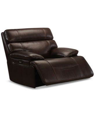 Barington Leather Power Recliner with Power Headrest  sc 1 st  Macyu0027s & Barington Leather Power Reclining Sofa with Power Headrest and USB ... islam-shia.org
