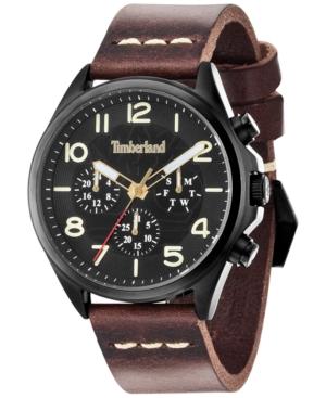 Timberland Men's Blake Brown Leather Strap Watch 46x54mm TBL14844JSB02