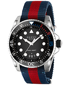 Gucci Men's Swiss Dive Blue-Red-Blue Nylon Nato Strap Watch 44mm YA136210